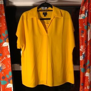 Rich Yellow Blouse With Button Back!